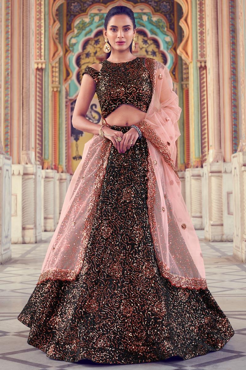 Black Color Fancy Fabric Function Wear Lehenga Choli