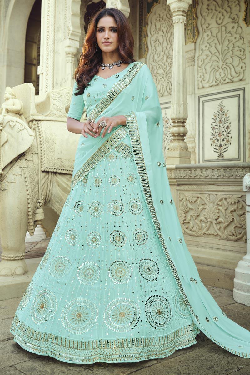 Sangeet Wear Light Cyan Color Chic Sequins Work Lehenga Choli In Georgette Fabric