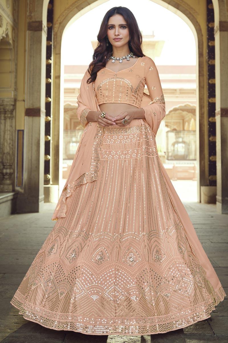 Sangeet Wear Chic Georgette Fabric Sequins Work Lehenga In Peach Color