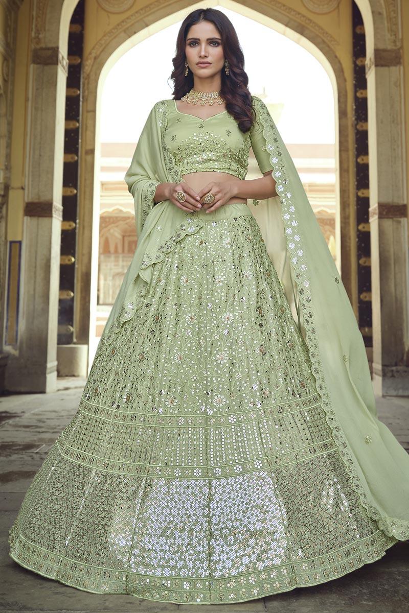 Sangeet Wear Sea Green Color Chic Georgette Fabric Sequins Work Lehenga Choli