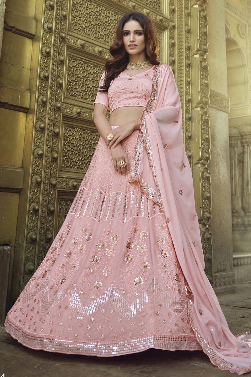 Chic Pink Color Sangeet Wear Georgette Fabric Sequins Work Lehenga