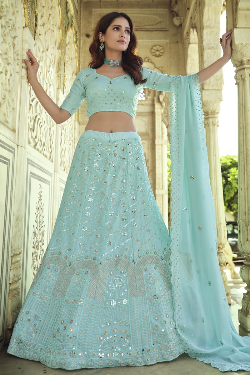 Georgette Fabric Sangeet Wear Chic Light Cyan Color Sequins Work Lehenga Choli