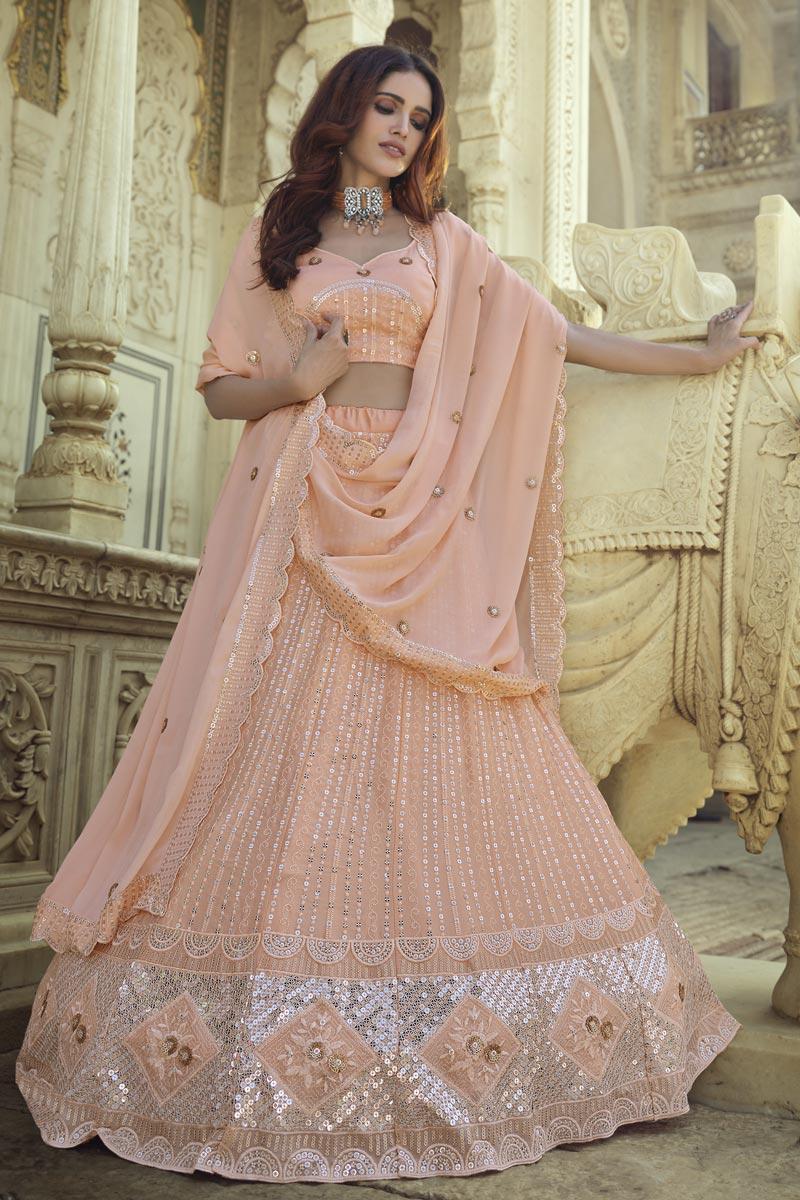 Peach Color Sangeet Wear Chic Georgette Fabric Sequins Work Lehenga