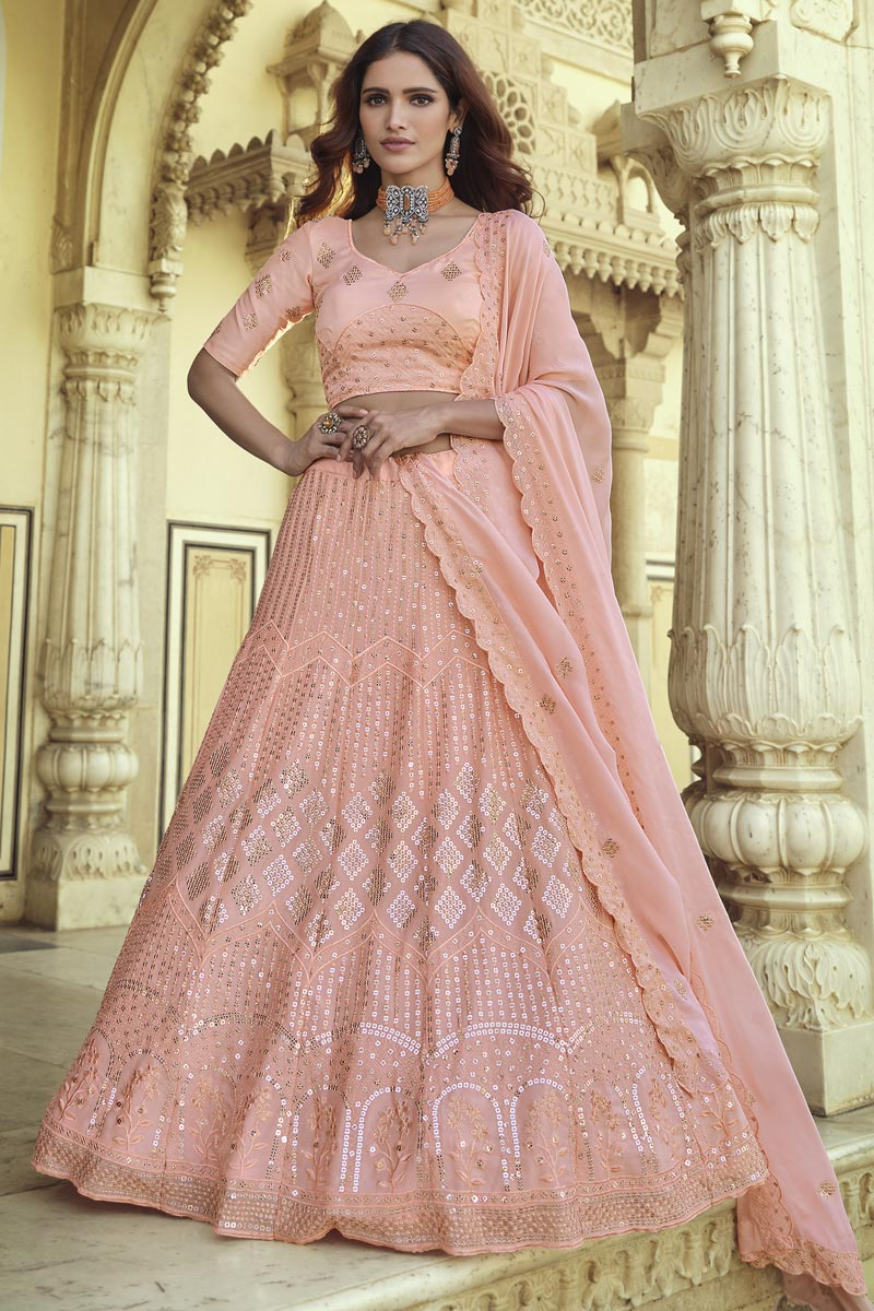 Sangeet Wear Georgette Fabric Chic Sequins Work Lehenga Choli In Peach Color