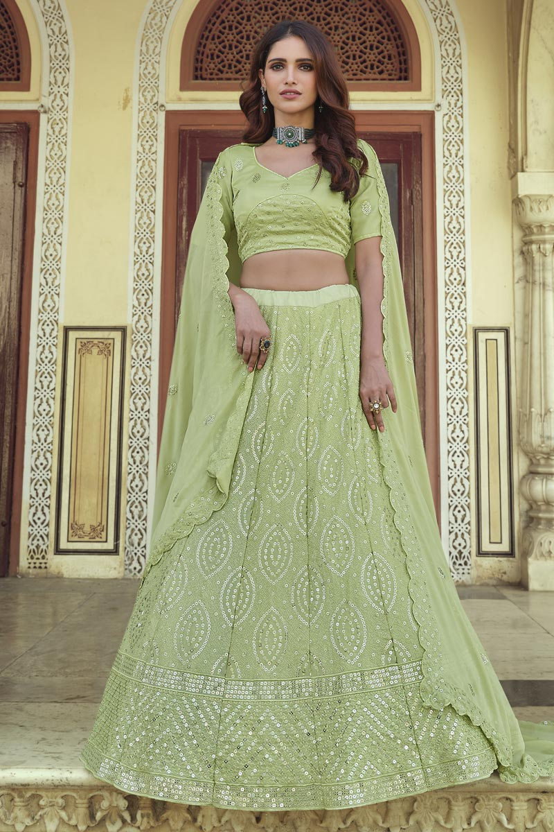 Sangeet Wear Chic Green Color Sequins Work Lehenga In Georgette Fabric
