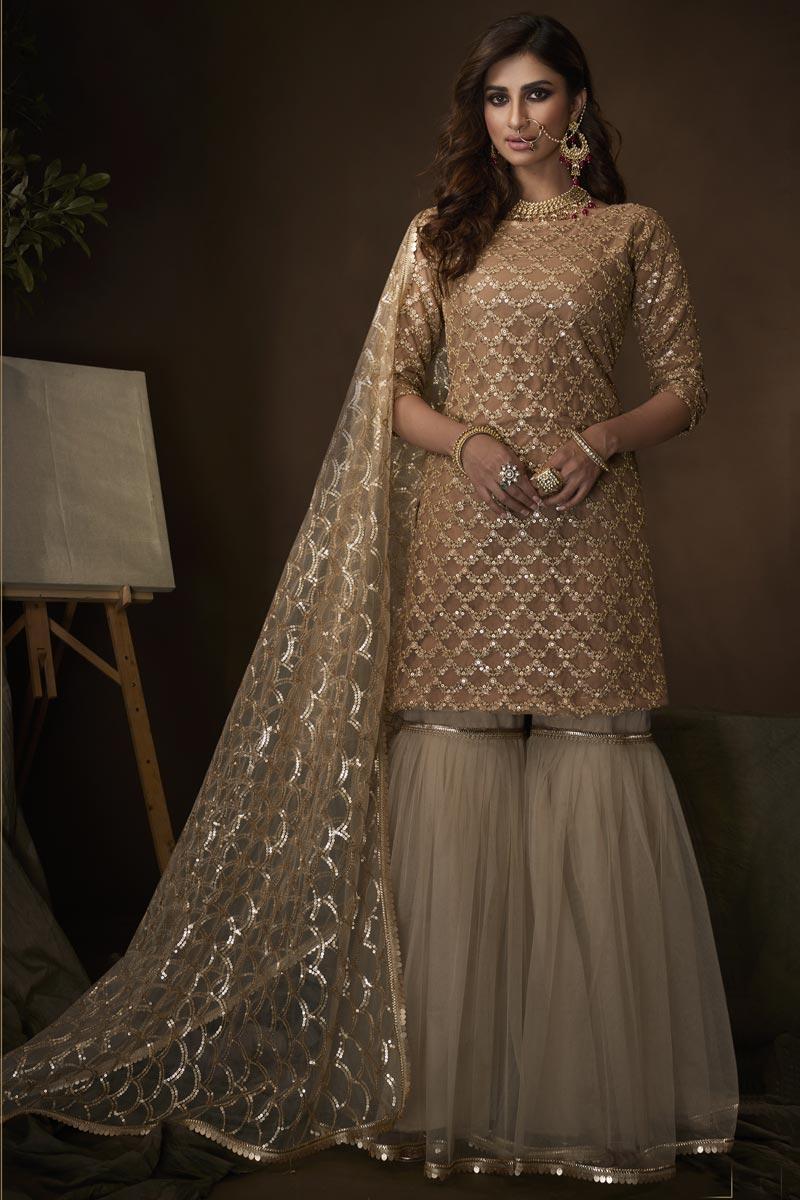 Beige Color Function Wear Elegant Sharara Suit In Net Fabric