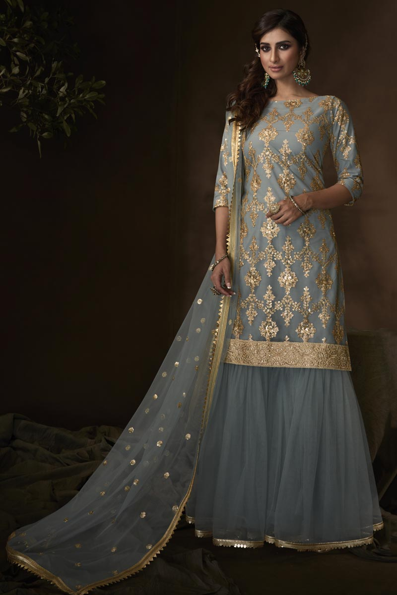 Function Wear Elegant Net Fabric Sharara Suit In Grey Color