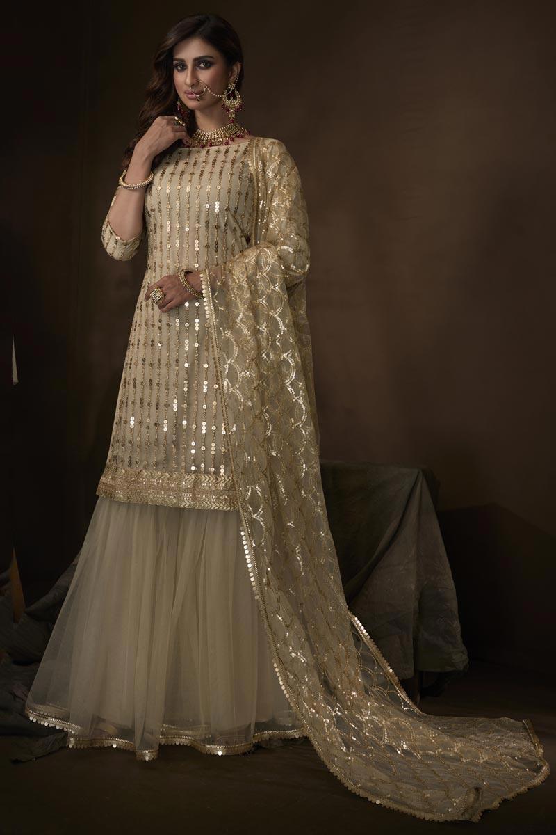 Elegant Net Fabric Function Wear Beige Color Sharara Dress