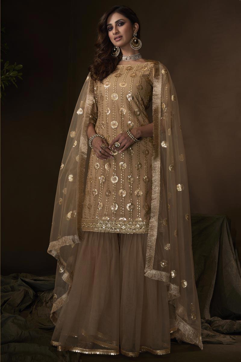 Function Wear Net Fabric Elegant Beige Color Sharara Dress