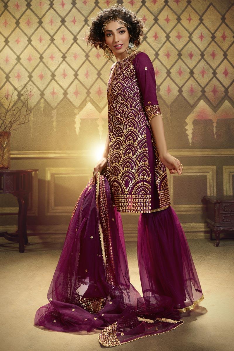 Purple Color Function Wear Fancy Sequins Work Sharara Suit In Net Fabric