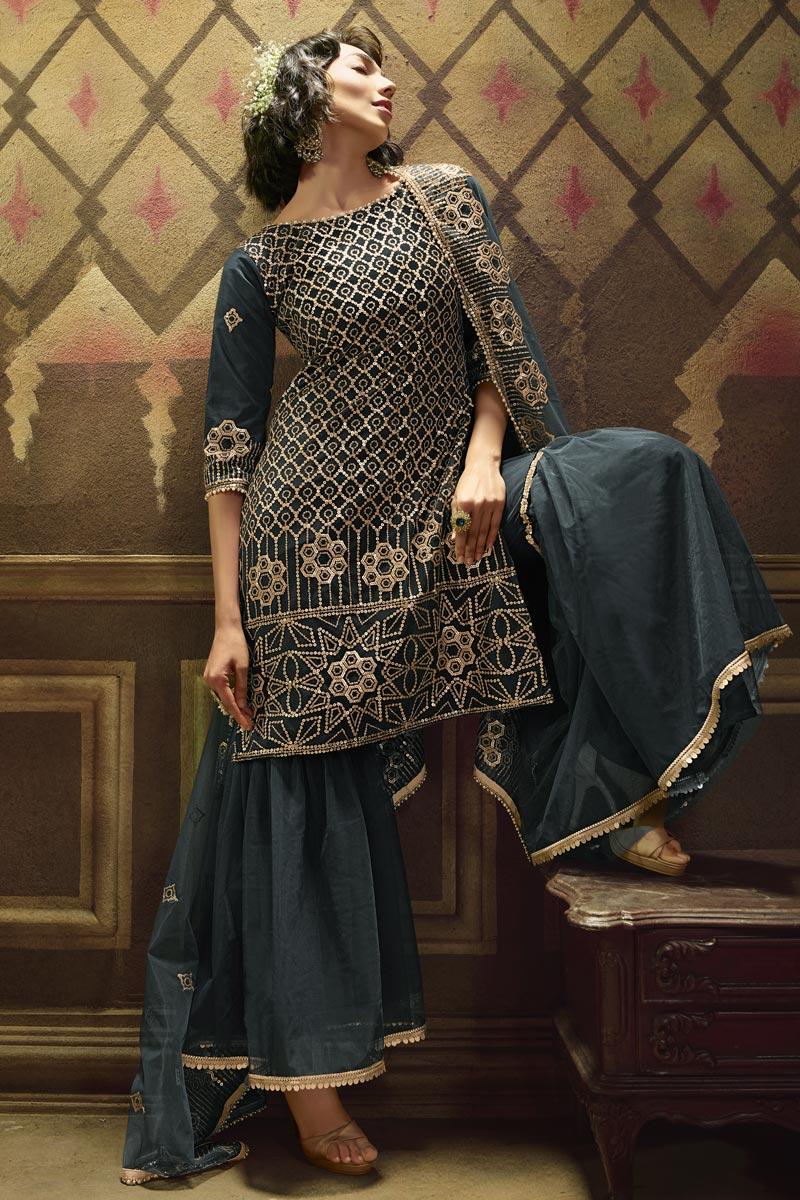 Function Wear Grey Color Fancy Net Fabric Sequins Work Sharara Dress