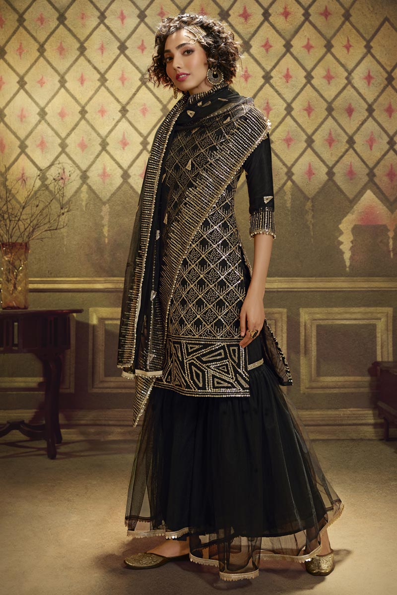 Fancy Net Fabric Function Wear Sequins Work Sharara Suit In Black Color