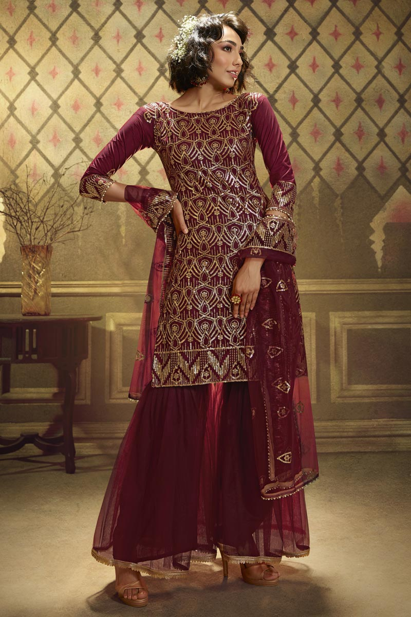 Function Wear Fancy Maroon Color Sequins Work Net Fabric Sharara Dress