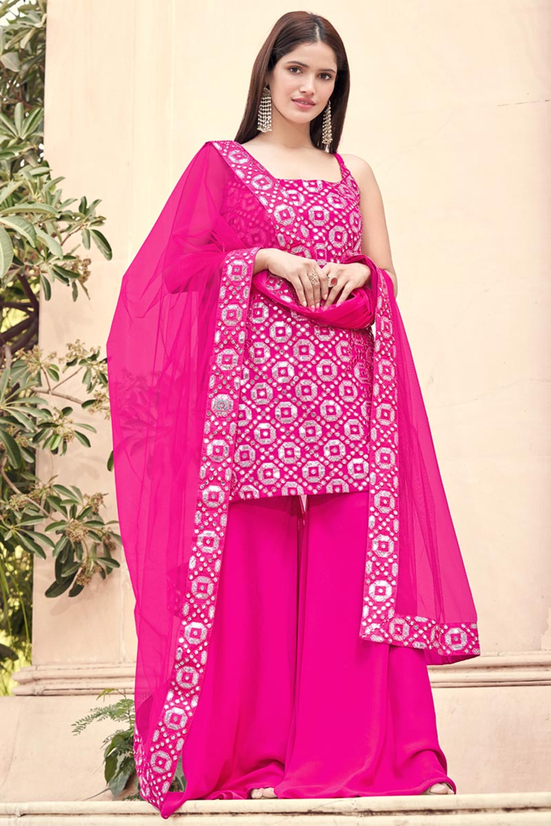 Rani Color Fancy Work Georgette Fabric Palazzo Suit