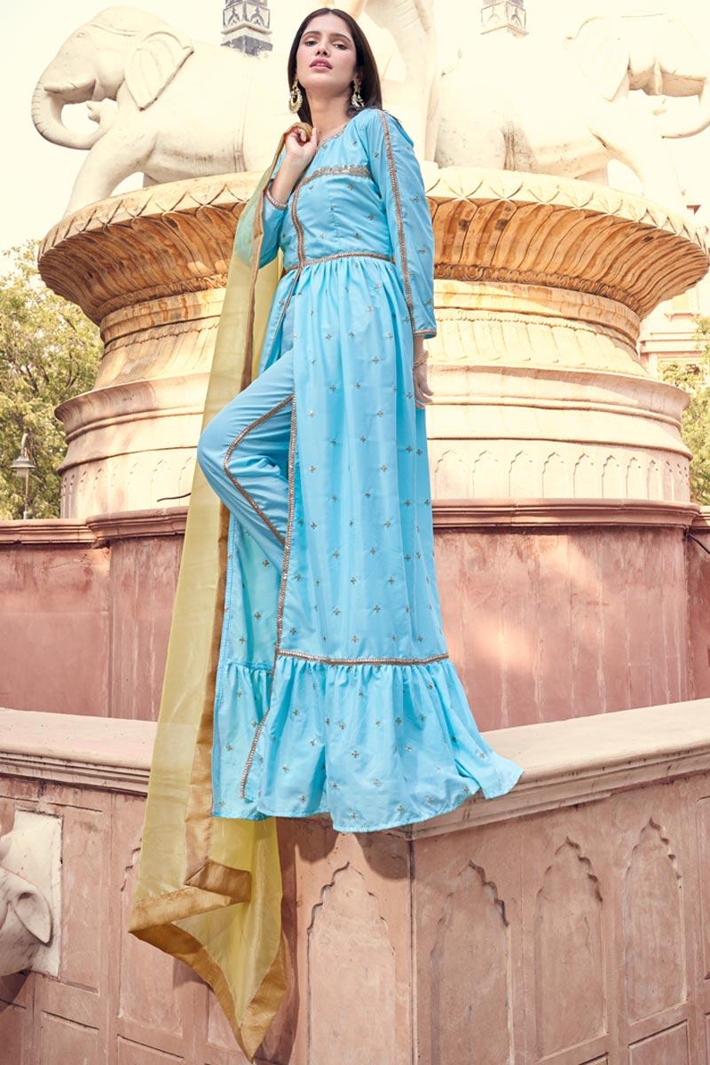 Light Cyan Color Fancy Work Crepe Fabric Designer Dress