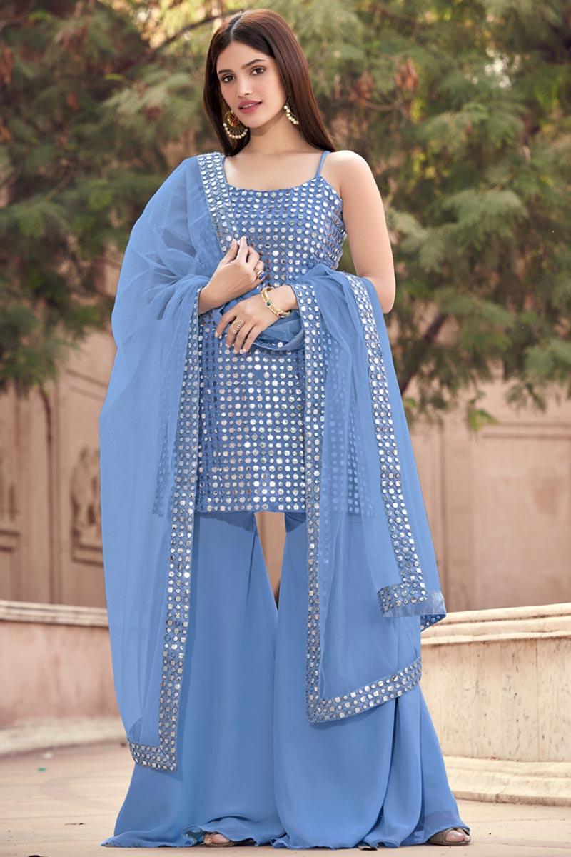 Georgette Fabric Blue Color Fancy Work Sharara Suit