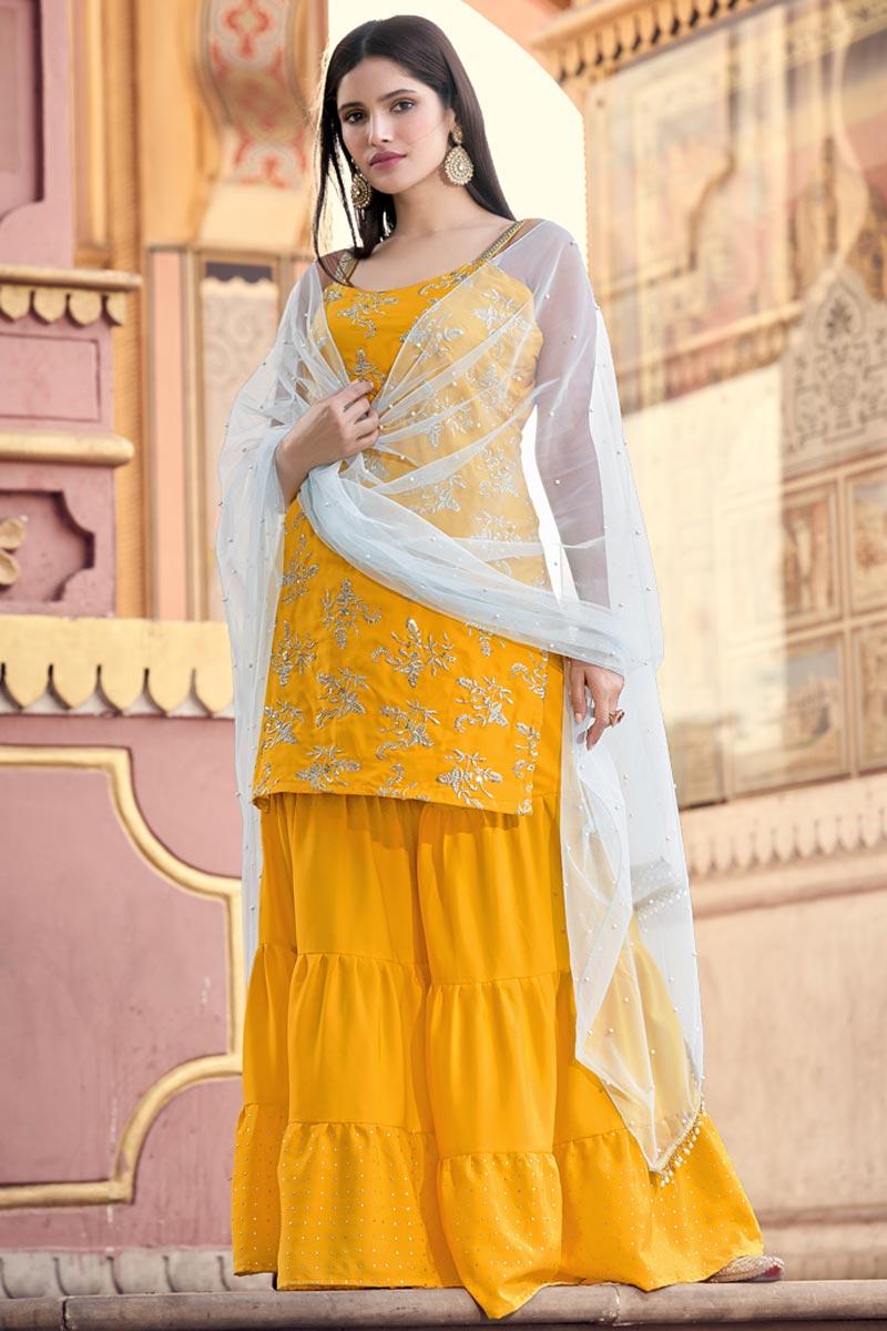 Mustard Color Crepe Fabric Fancy Work Sharara Dress