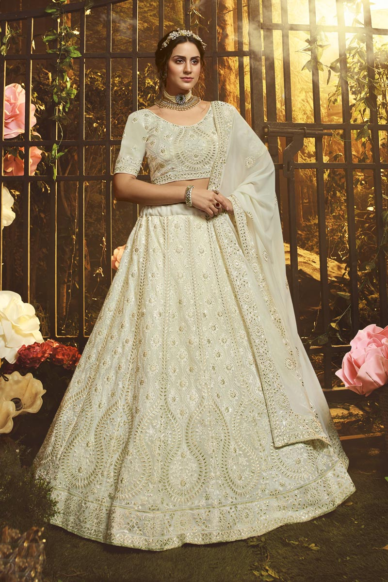 Thread Embroidered Off White Color Reception Wear Georgette Fabric Lehenga