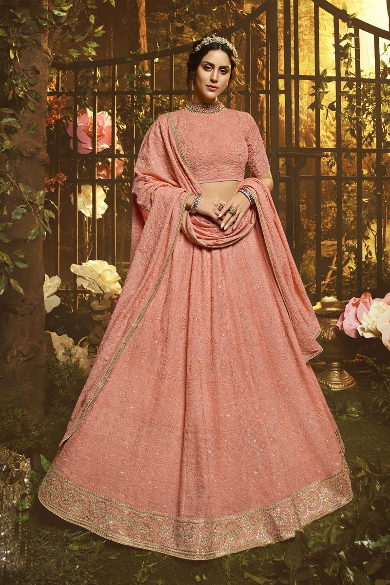 Peach Color Reception Wear Georgette Fabric Thread Embroidered Lehenga Choli