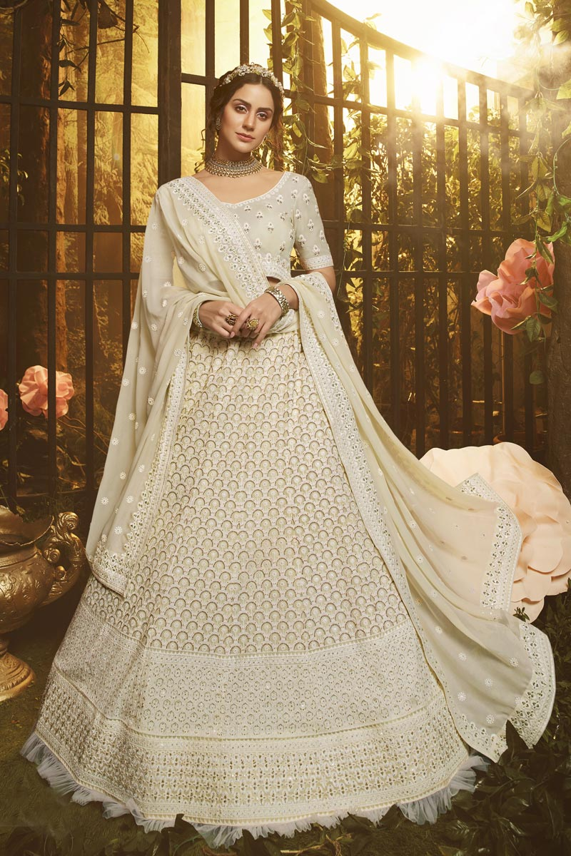 Reception Wear Georgette Fabric Thread Embroidered Off White Color Lehenga