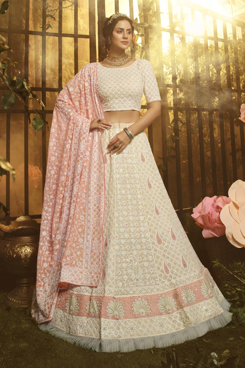 Off White Color Reception Wear Thread Embroidered Georgette Fabric Lehenga Choli