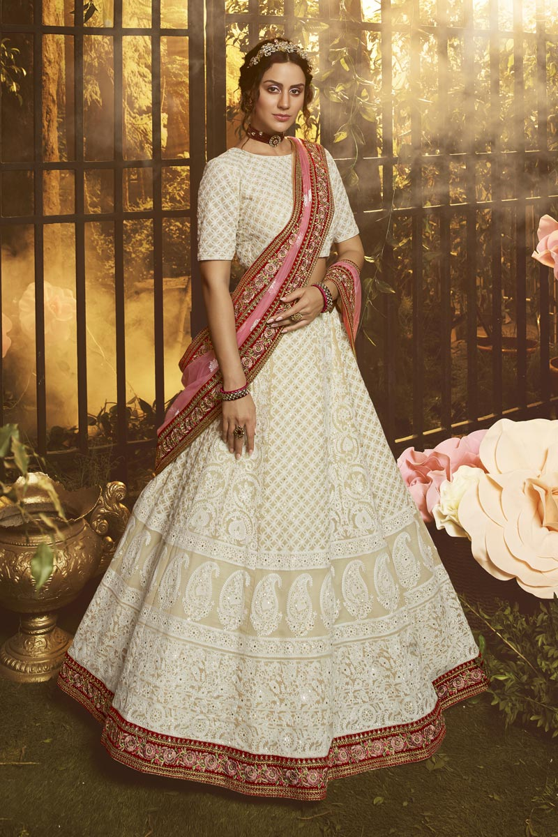 Georgette Fabric Reception Wear Thread Embroidered Lehenga Choli In White Color