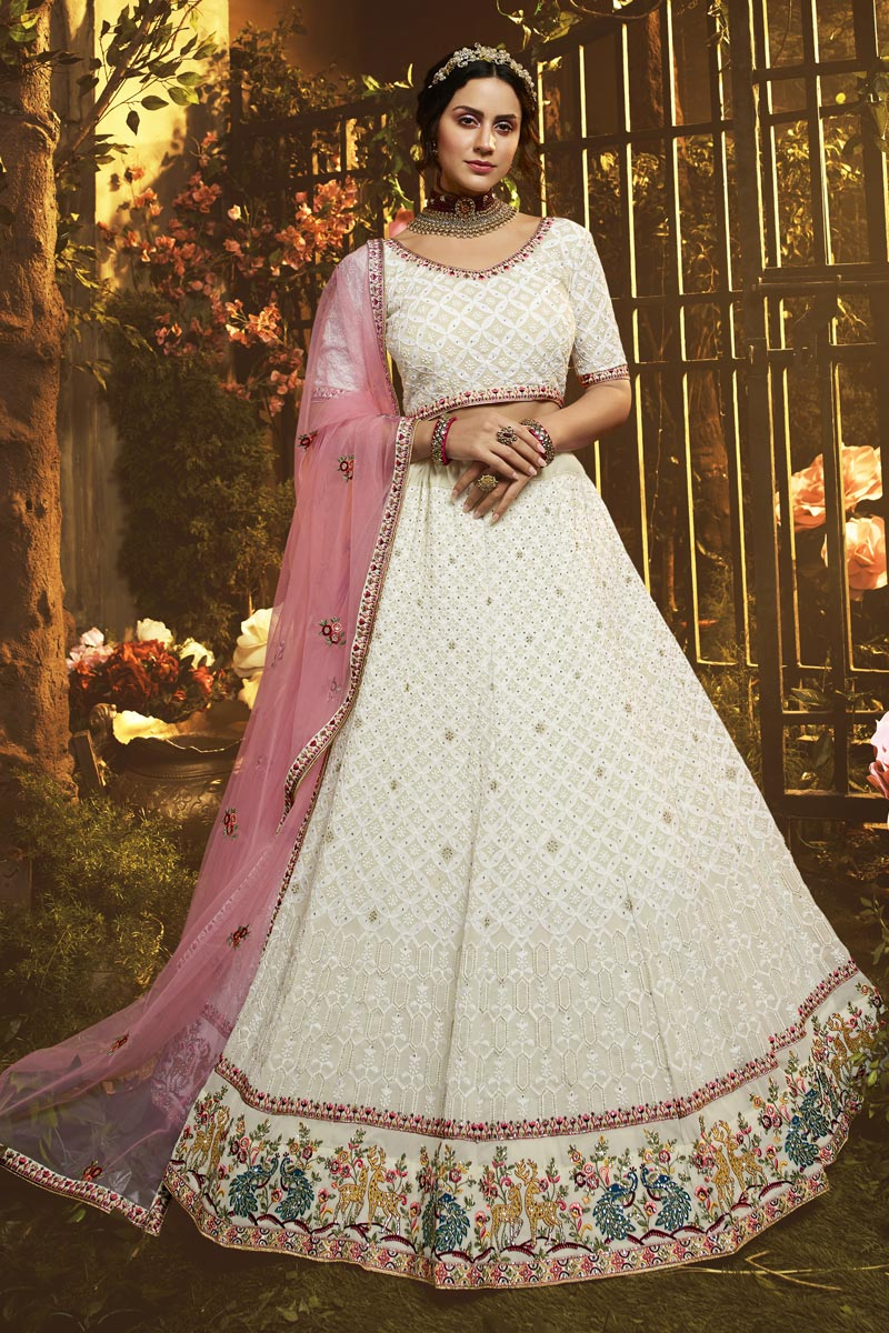 Georgette Fabric Reception Wear White Color Thread Embroidered Lehenga Choli