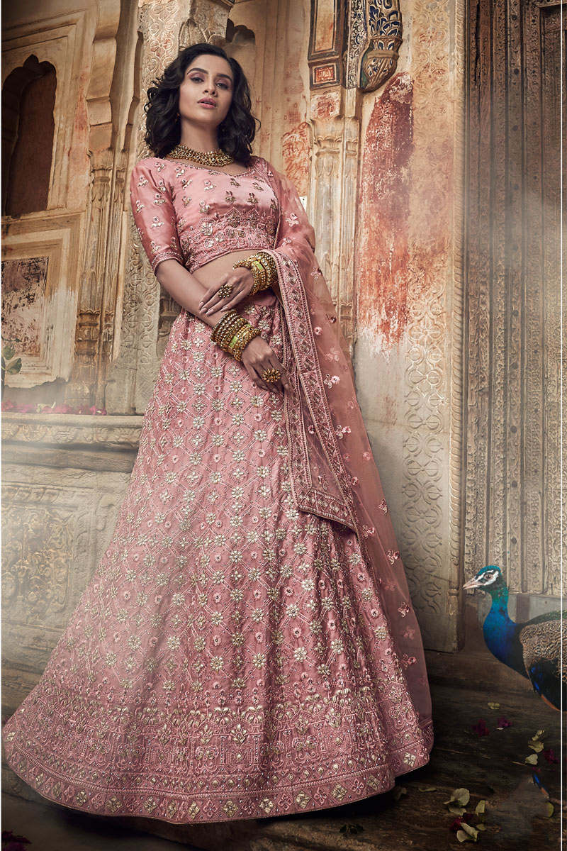 Exclusive Embroidered Satin Wedding Wear Designer 3 Piece Lehenga Choli In Fancy Pink Color
