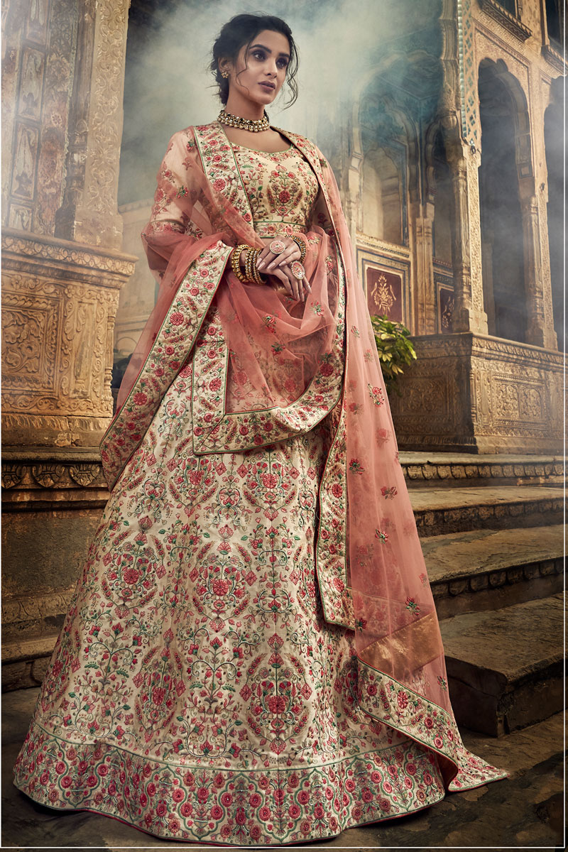 Exclusive Venerable Art Silk Embroidered Bridal Wear Designer Fancy Cream Color Lehenga Choli