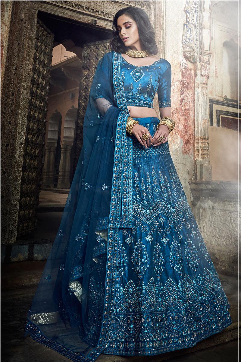Exclusive Fascinating Fancy Navy Blue Color Wedding Wear Designer Art Silk Bridal Lehenga Choli