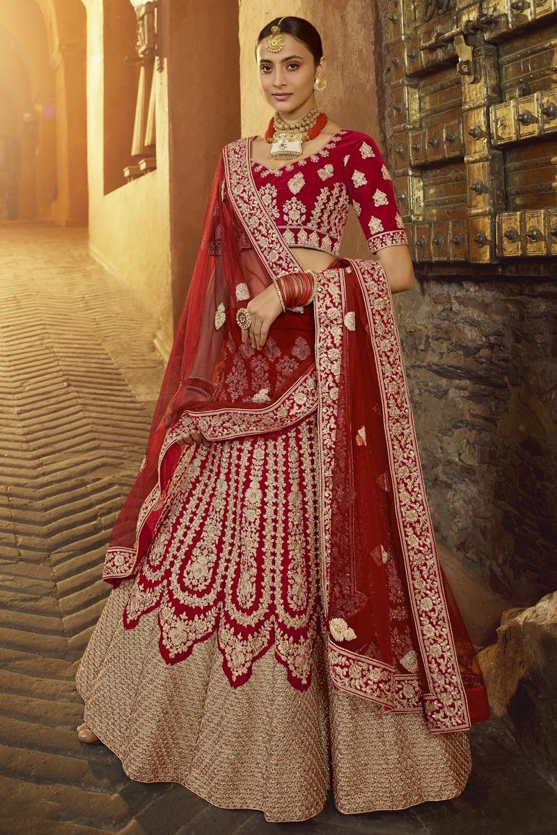 Red Color Bridal Wear Velvet Fabric Embroidered Lehenga