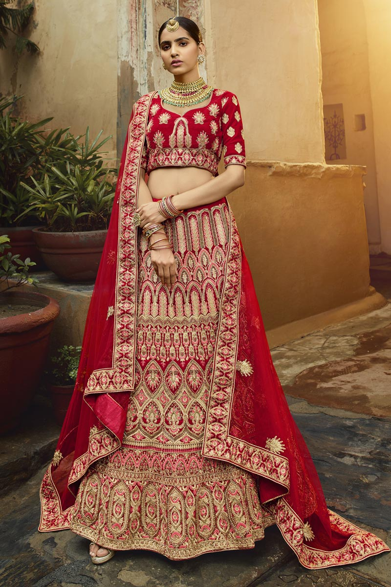 Bridal Wear Velvet Fabric Embroidered Red Color Lehenga Choli