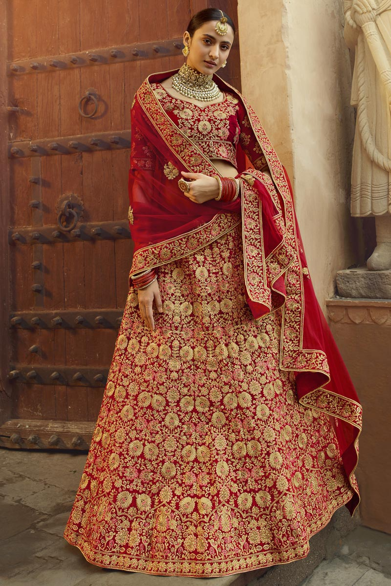 Red Color Bridal Wear Embroidered Velvet Fabric Lehenga