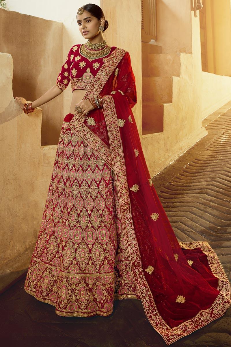 Bridal Wear Red Color Velvet Fabric Embroidered Lehenga Choli