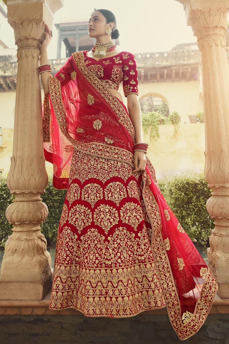 Velvet Fabric Bridal Wear Embroidered Lehenga In Red Color