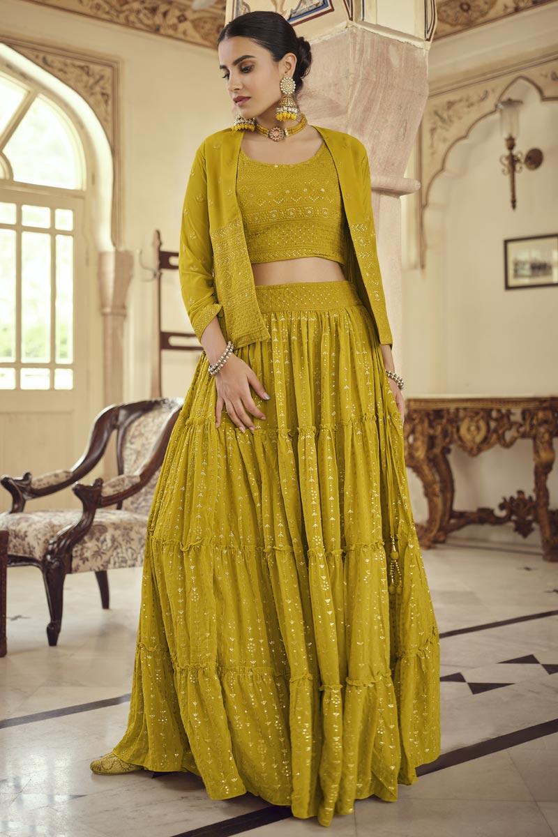 Georgette Festive Wear Yellow Color Readymade Indo Western Lehenga
