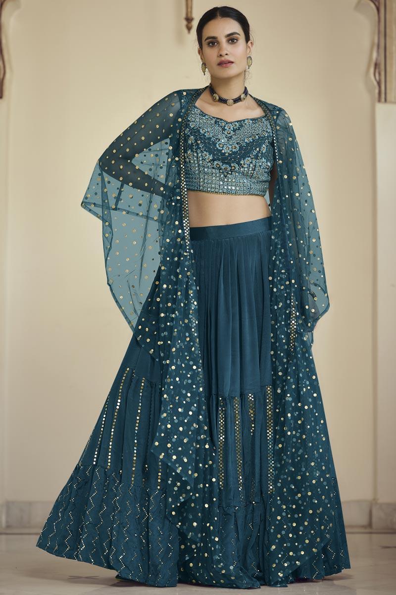 Festive Wear Crepe Fabric Readymade Indo Western Lehenga In Teal Color