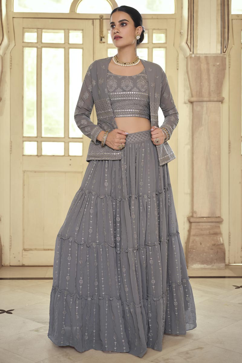 Festive Wear Grey Color Georgette Readymade Indo Western Lehenga
