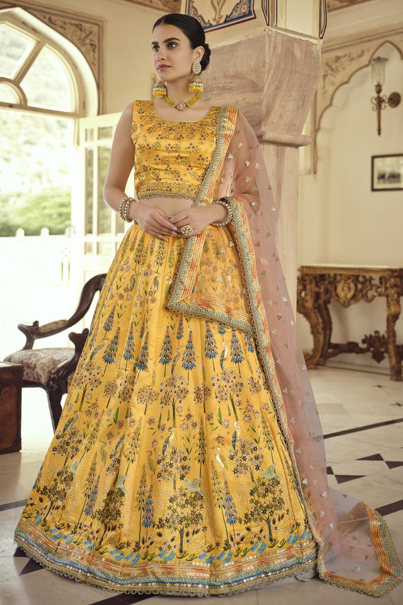 Art Silk Festive Wear Readymade Indo Western Lehenga In Yellow
