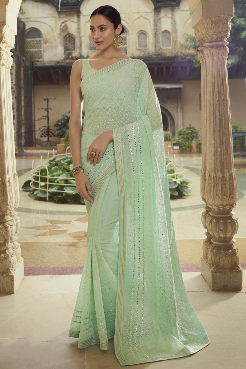 Sea Green Color Georgette Fabric Sangeet Wear Chic Thread Work Saree