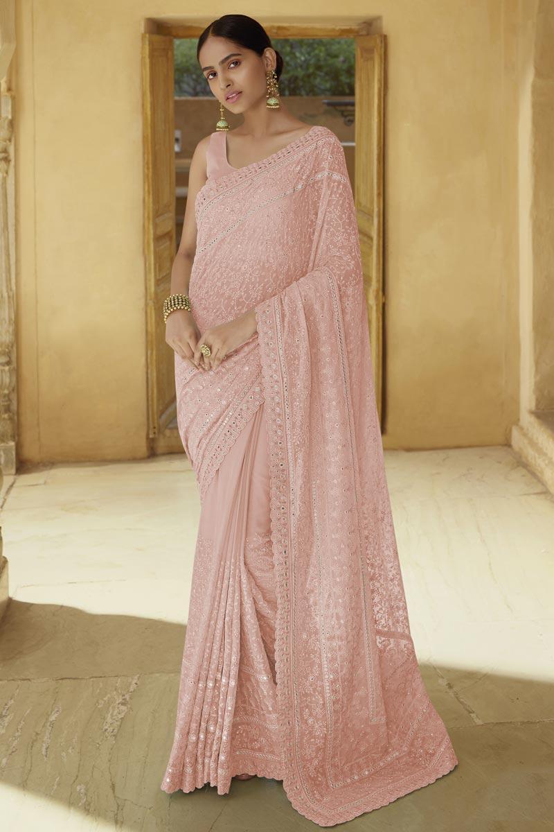 Sangeet Wear Chic Peach Color Thread Work Saree In Georgette Fabric