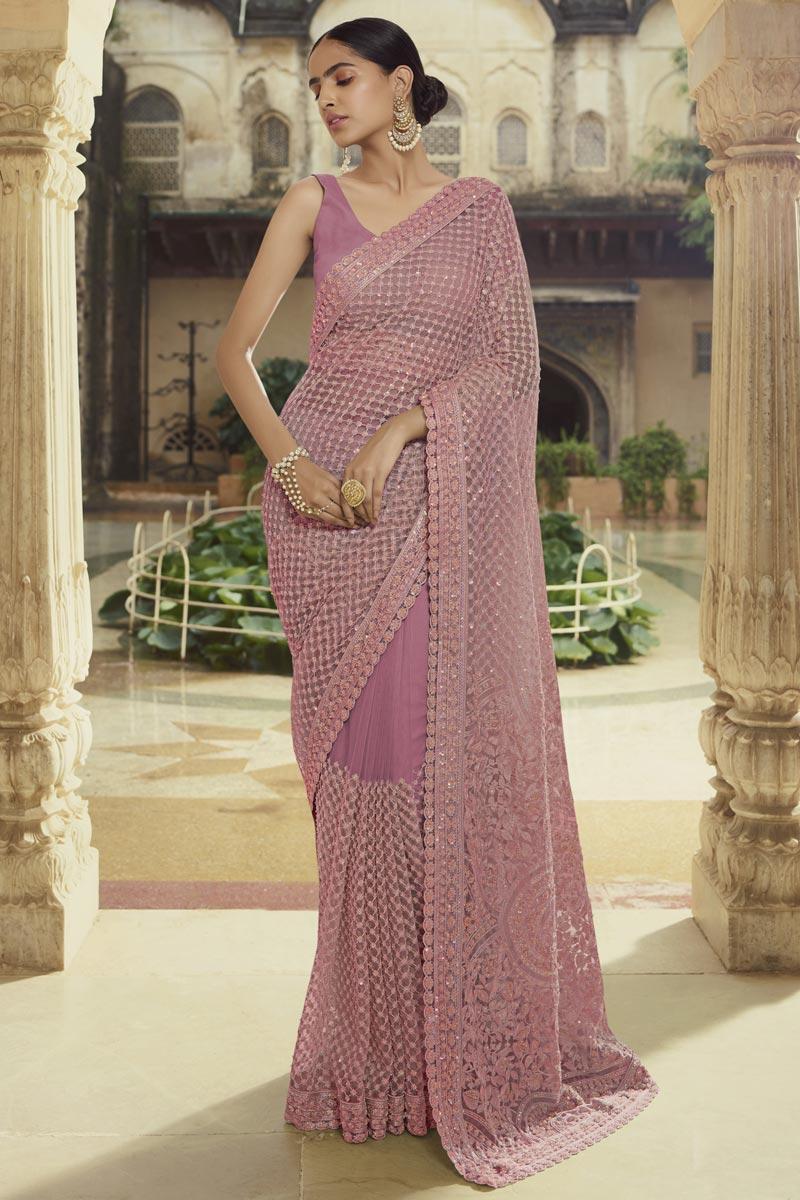 Sangeet Wear Trendy Net Fabric Thread Work Saree In Lavender Color