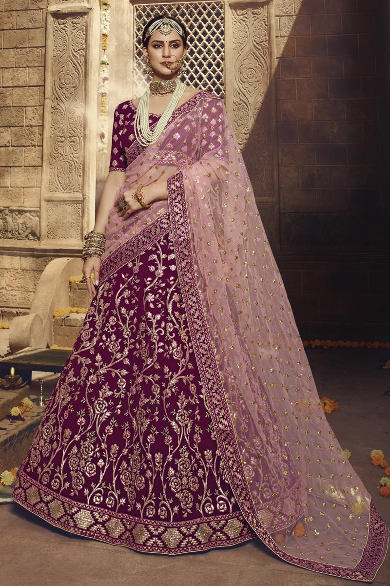 Embroidered Purple Color Wedding Function Wear Georgette Fabric Lehenga Choli