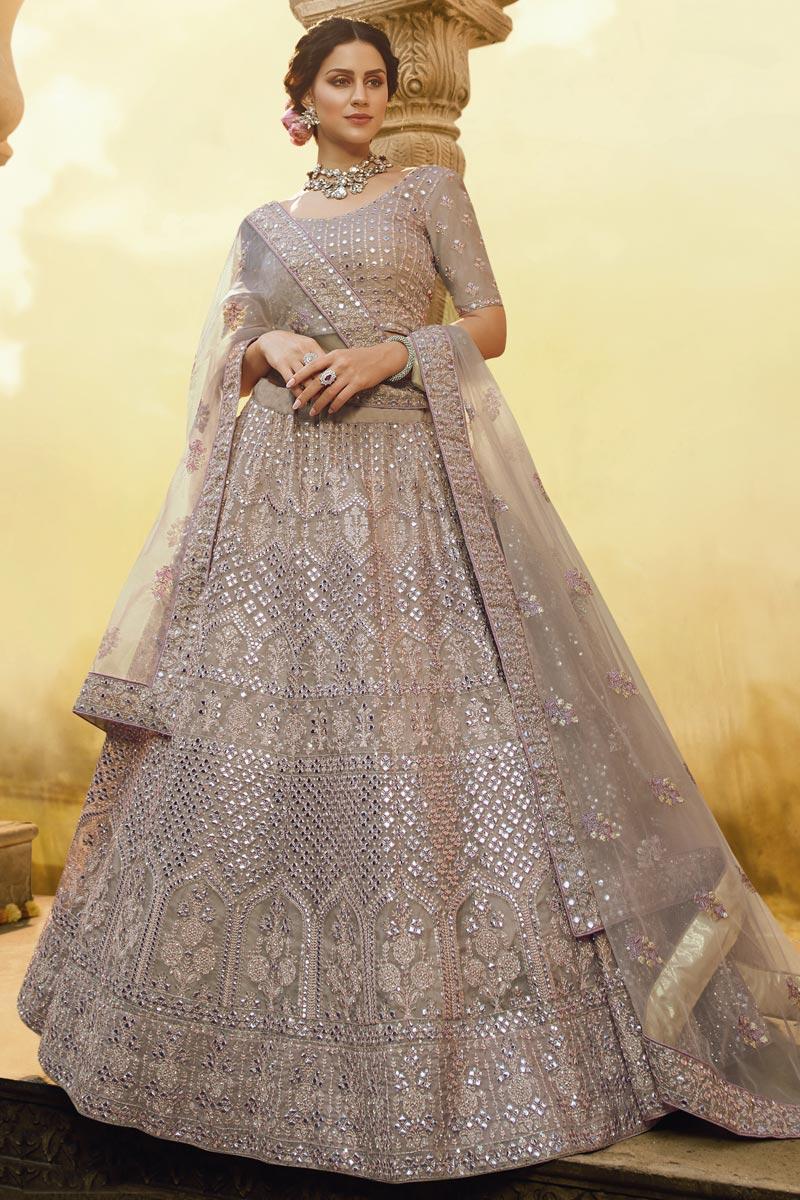 Cream Color Wedding Function Wear Crepe Fabric Embroidered Lehenga