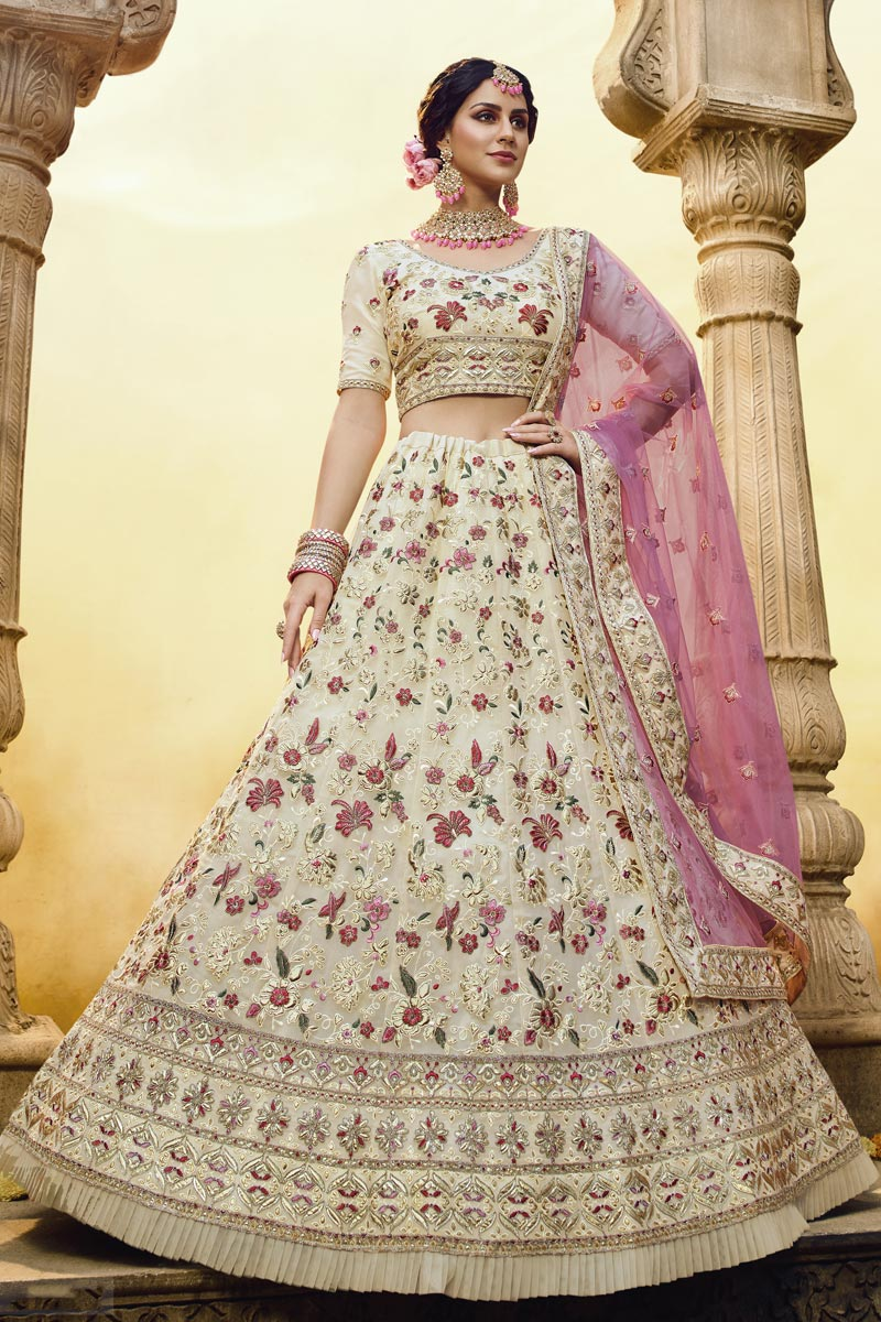 Beige Color Wedding Function Wear Embroidered Georgette Fabric Lehenga