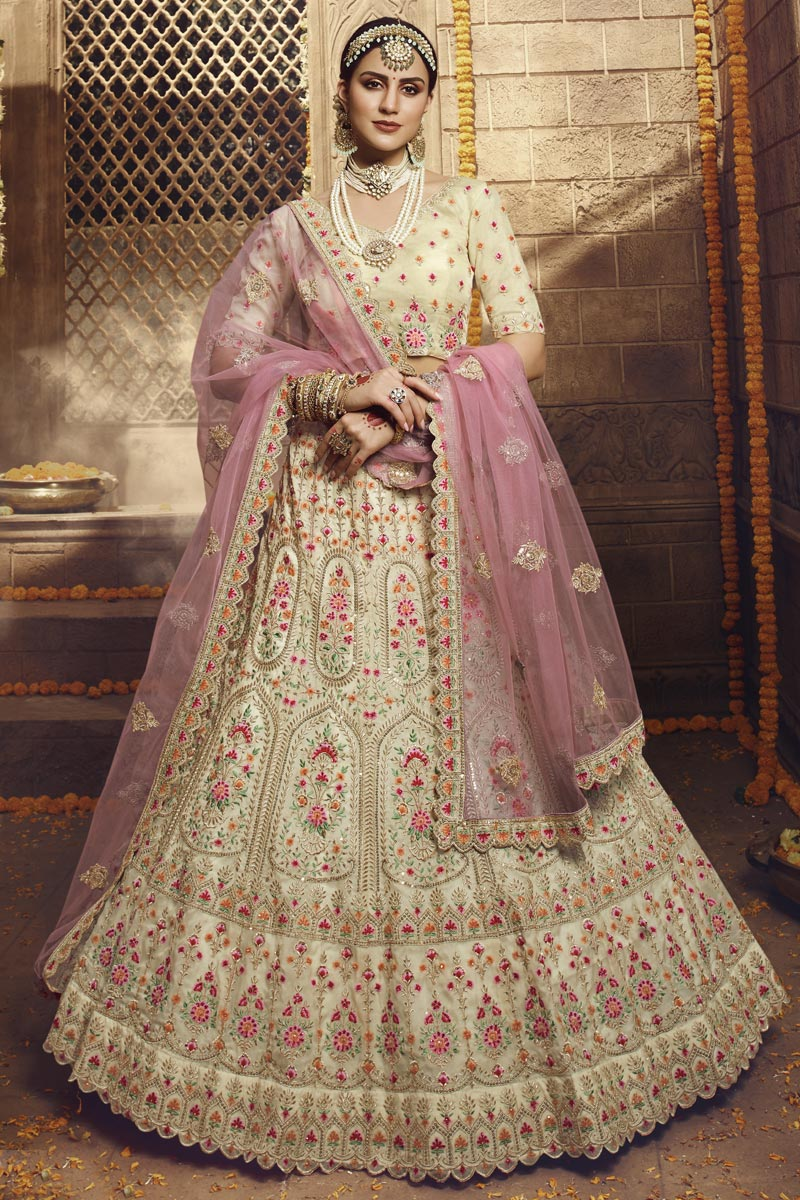 Fancy Fabric Wedding Function Wear Embroidered Lehenga In Beige Color