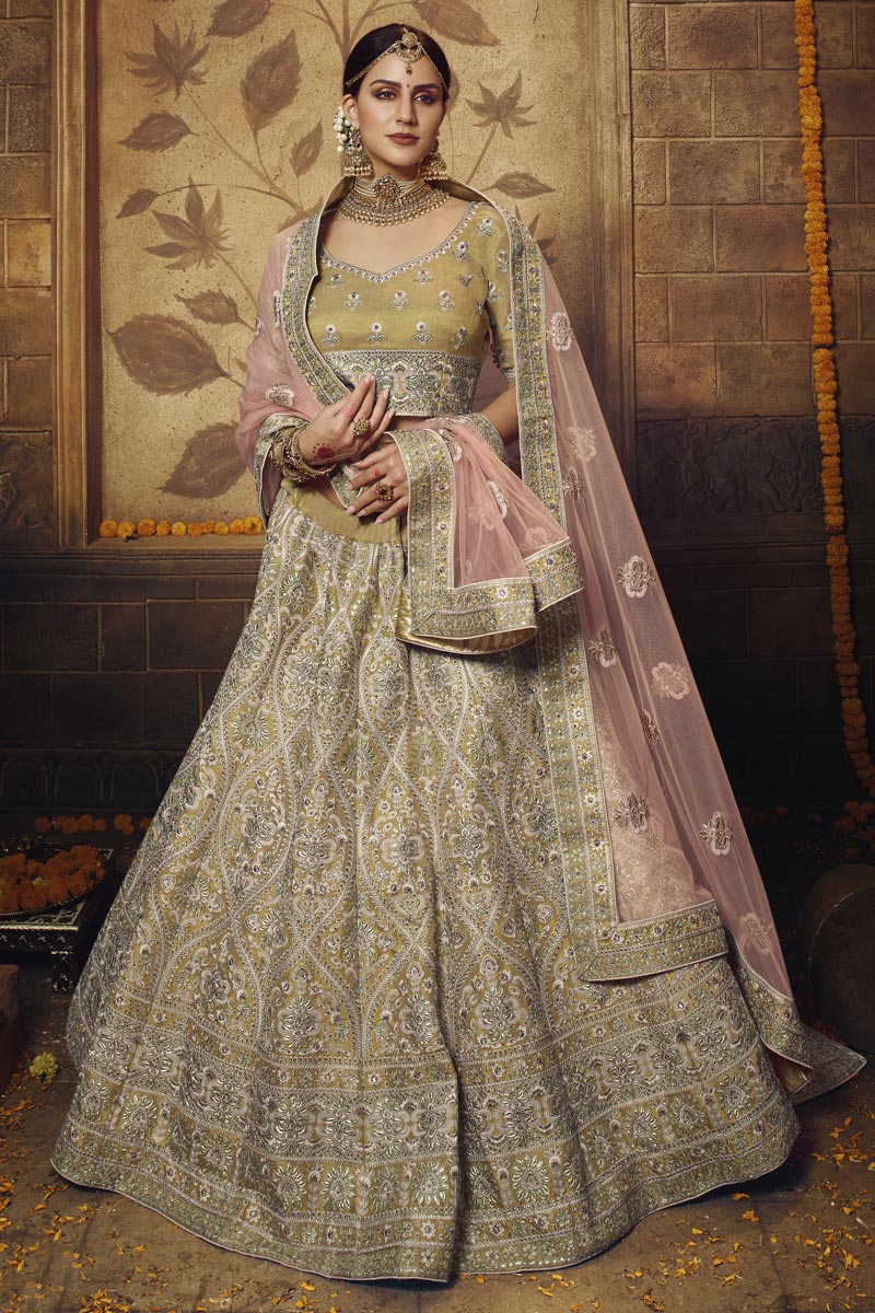 Net Fabric Wedding Function Wear Beige Color Embroidered Lehenga