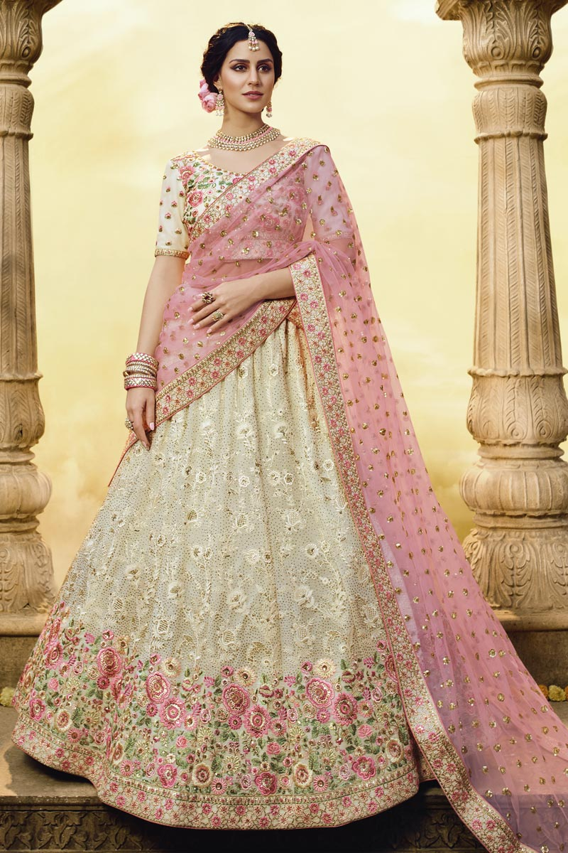 Wedding Function Wear Georgette Fabric Beige Color Embroidered Lehenga Choli
