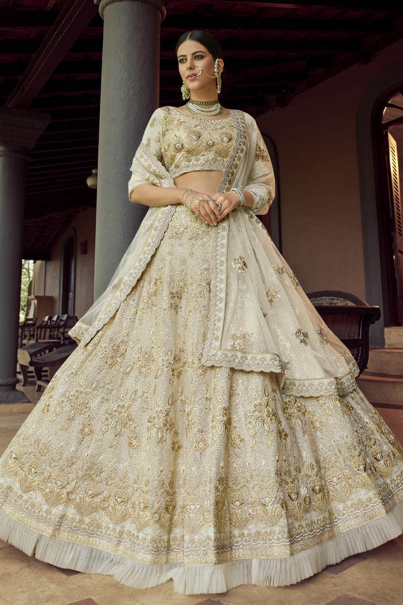 Off White Color Georgette Fabric Sangeet Wear Lehenga Choli