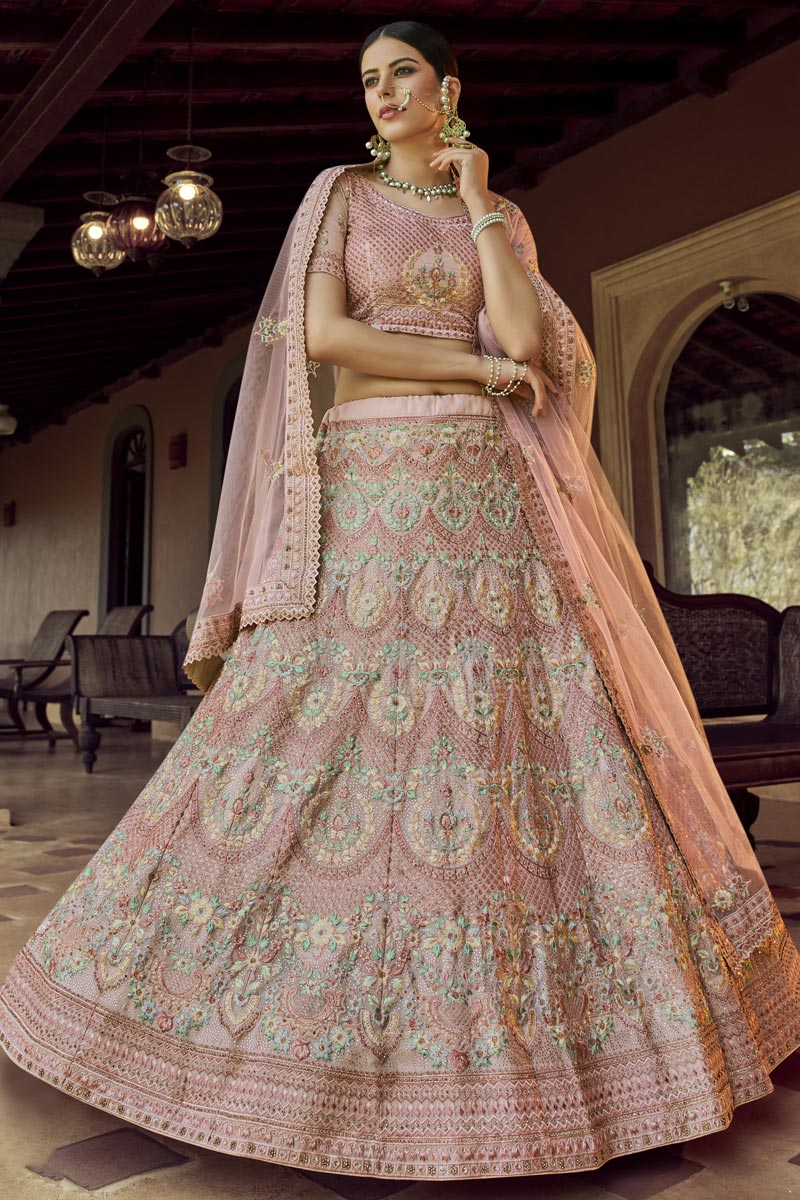 Pink Color Wedding Wear Deigner Lehenga Choli